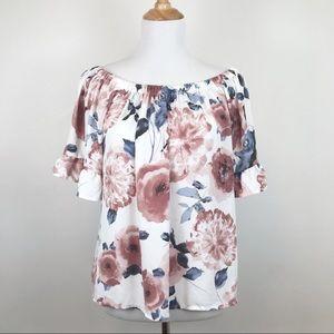 Sienna Sky Floral Print Off Shoulder Top